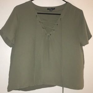 Olive green lace up top